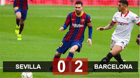 Sevilla 0-2 Barcelona: Messi rút ngắn khoảng cách giữa Barcelona với Atletico