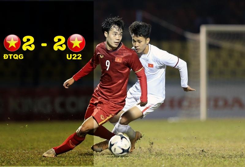 """U22 Việt Nam """"làm hoà"""" với đội hình mạnh nhất của ĐTQG Việt Nam"""