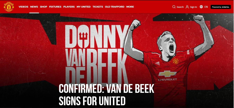 Van de Beek chính thức gia nhập MU (Ảnh: Manutd.com)