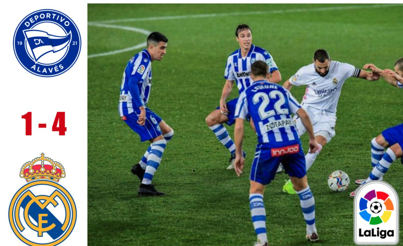 Alaves 1-4 Real Madrid: Benzema thực hiện cú đúp vùi dập Alaves