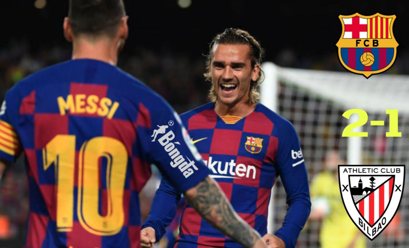 Barcelona 2-1 Athletic: Messi và Griezmann nâng Barcelona lên vị trí thứ hai trên BXH La Liga