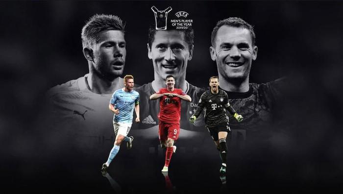 De Bruyne cạnh tranh với Lewandowski và Neuer của Bayern Munich cho danh hiệu Cầu thủ xuất sắc nhất năm của UEFA