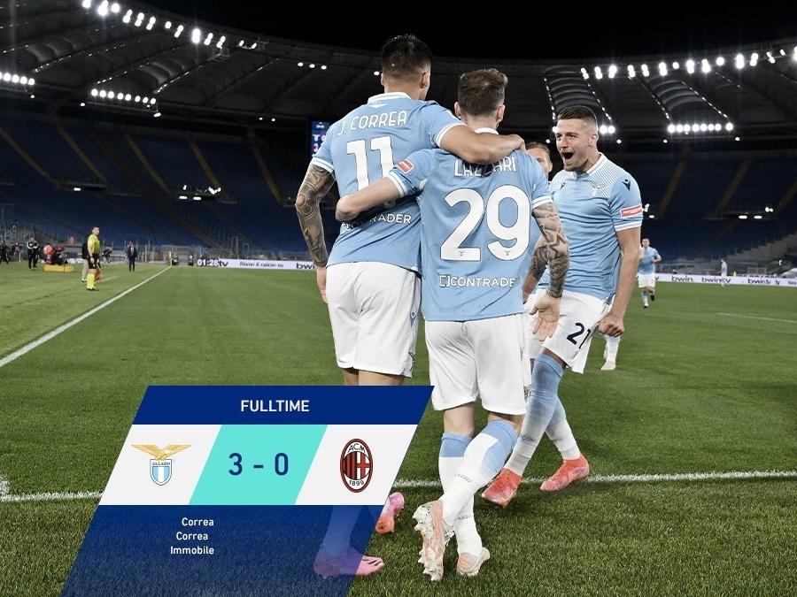 Lazio 3-0 AC Milan: Rossoneri đánh rơi suất dự Champions League