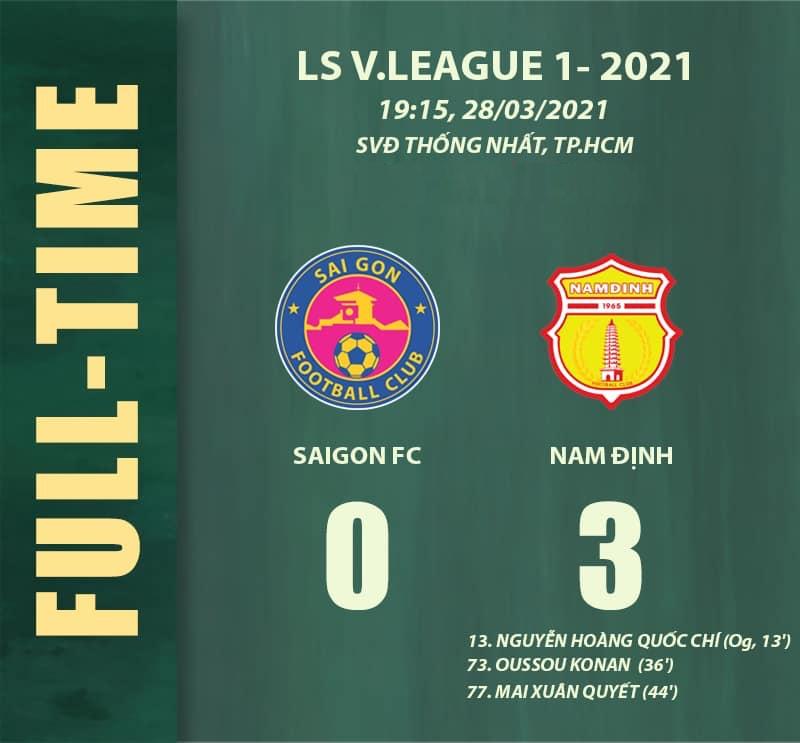 Sài Gòn 0-3 Nam Định: Càn quét sân Thống Nhất