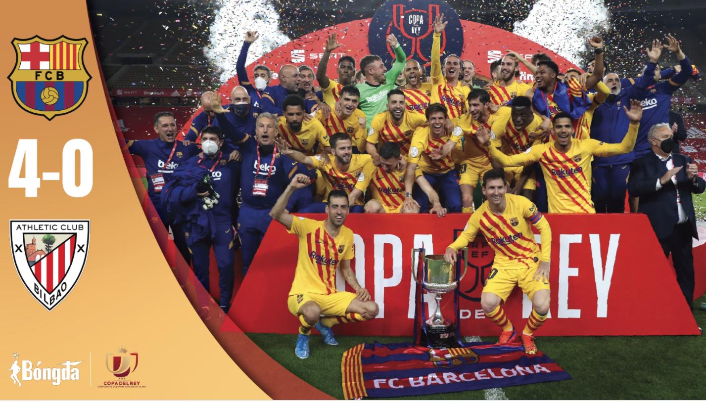 Barcelona đập tan CLB Athletic trong trận chung kết Copa del Rey