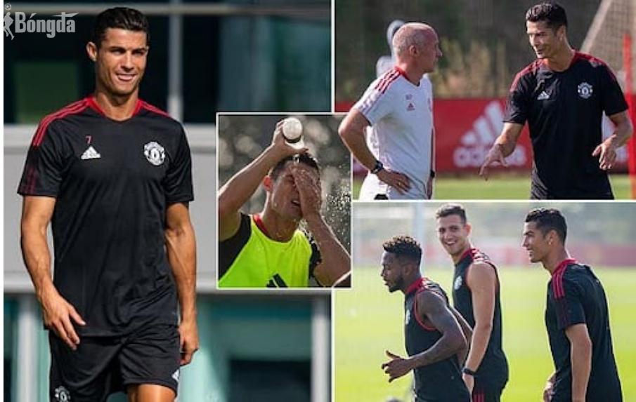Ronaldo tập buổi đầu cùng Man Utd, đồng đội nhiệt tình chào đón