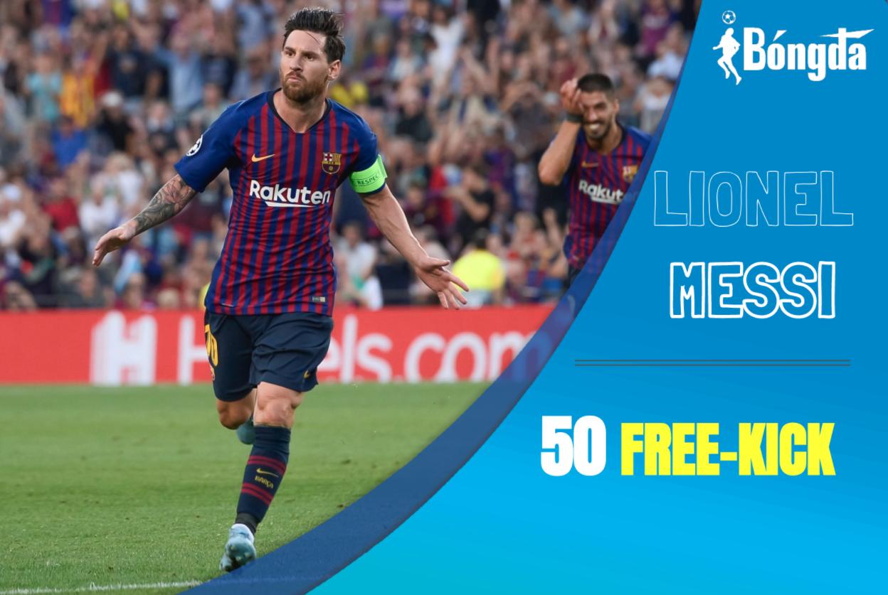 Messi thực hiện thành công cú đá phạt thứ 50 cho Barcelona