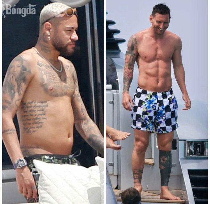 Neymar phát tướng ôm gái lạ, cùng Messi đọ dáng trên du thuyền