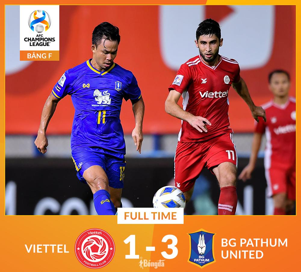 Kết quả Pathum 3-1 Viettel: Đại diện V-League bị loại sớm ở cúp C1 châu Á