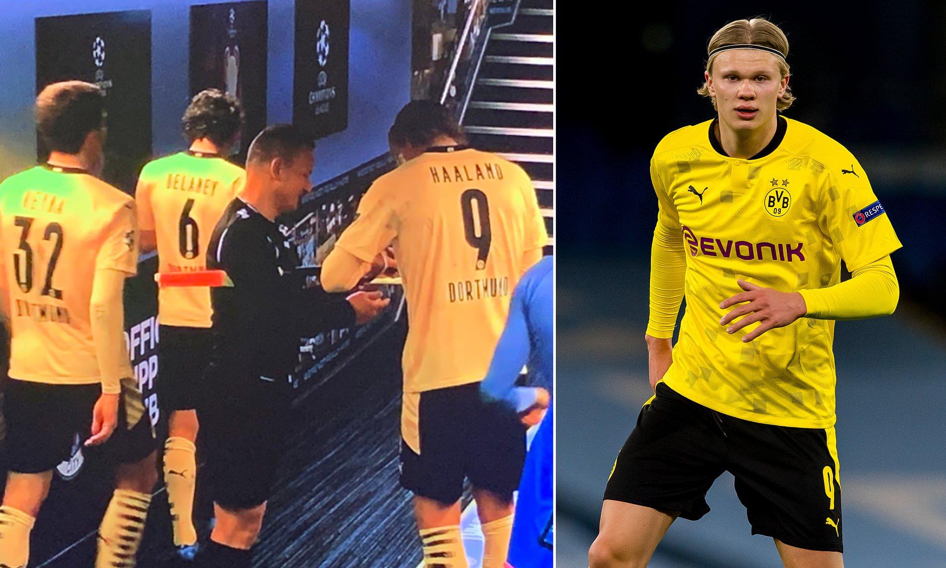 Trợ lý trọng tài xin chữ ký Erling Haaland sau cuộc đụng độ Champions League giữa Man City và Dortmund