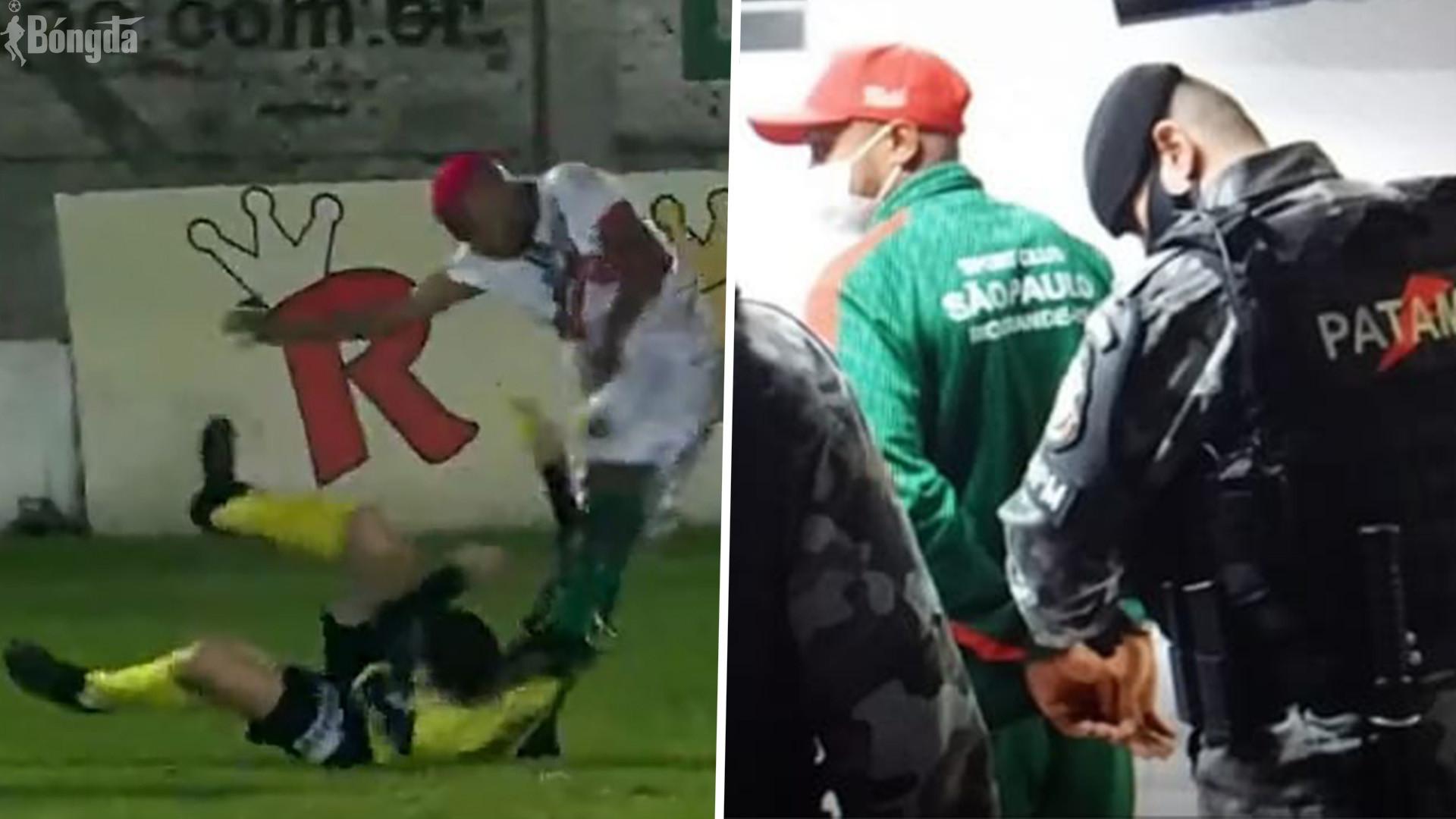 Đá vào đầu trọng tài bất tỉnh, cầu thủ Brazil bị buộc tội giết người