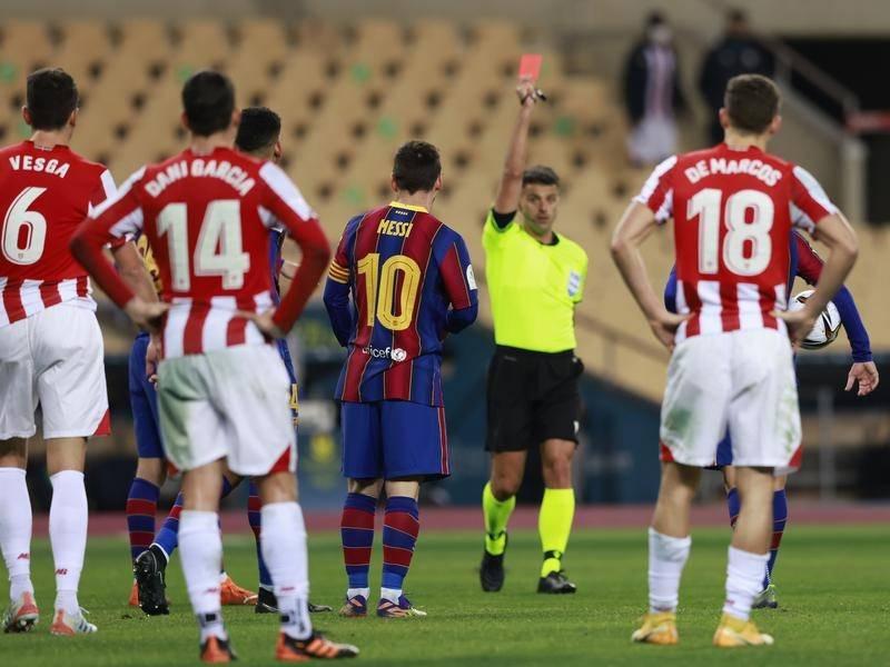 Barcelona thua Athletic, Messi nhận thẻ đỏ vì hành động bạo lực