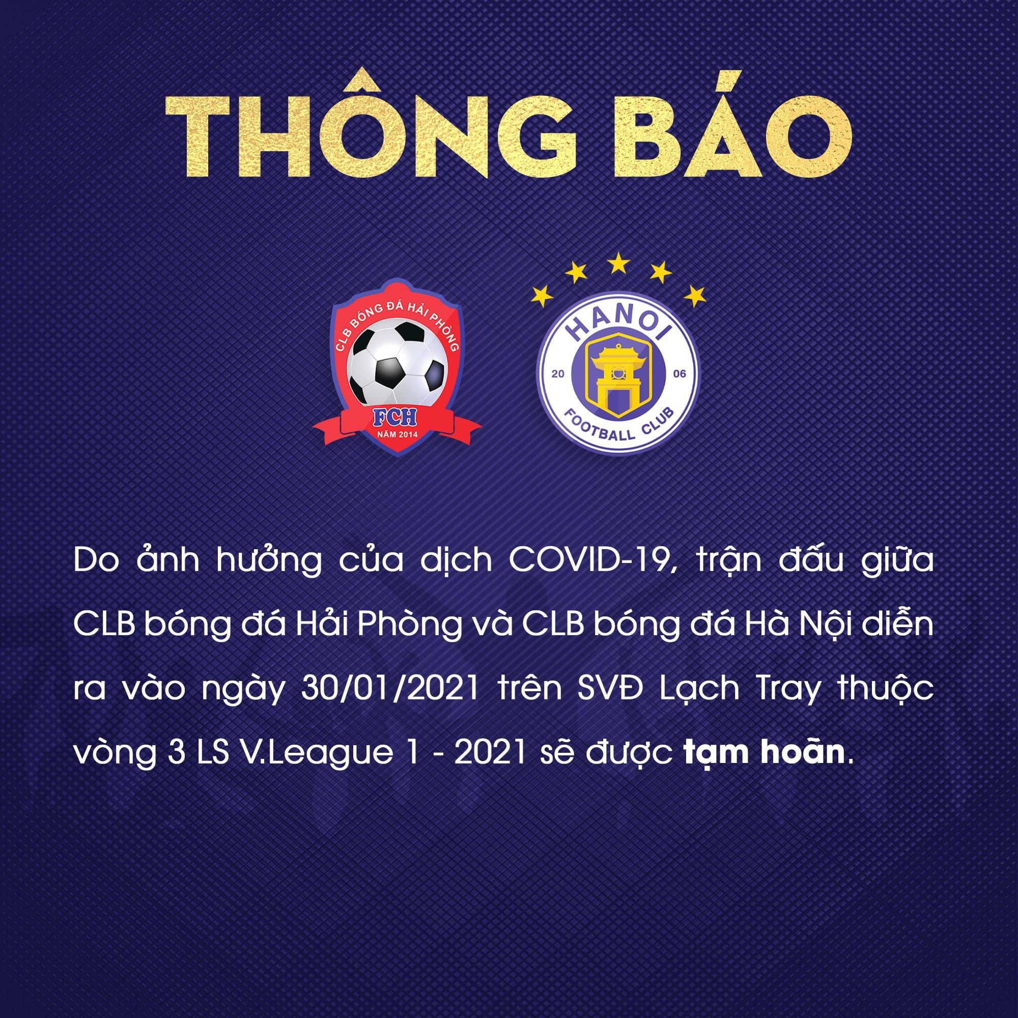 Khẩn: VPF thông báo hoãn V-League 2021