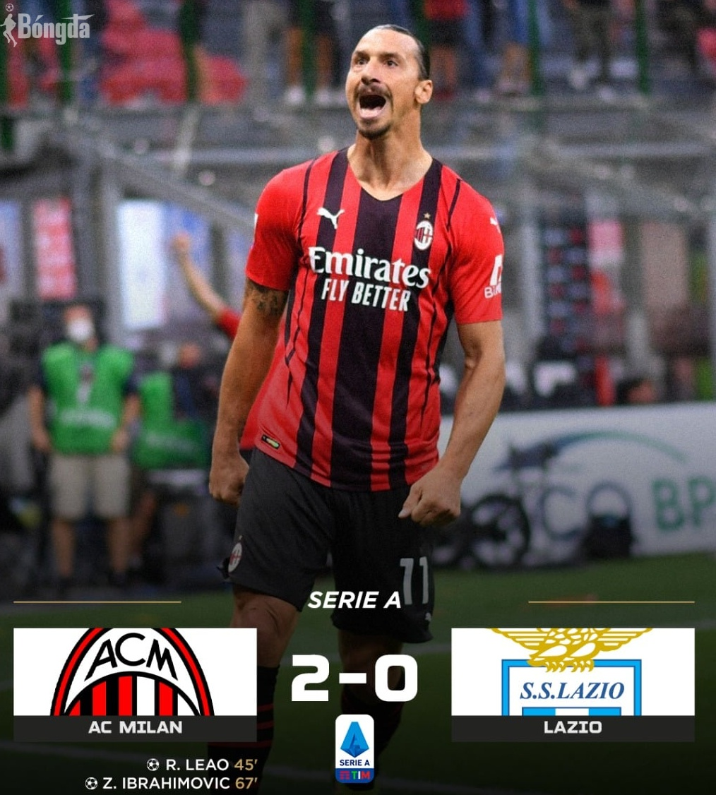 """AC Milan thắng đậm 2-0 Lazio, """"lão tướng"""" Ibrahimovic bất bại"""