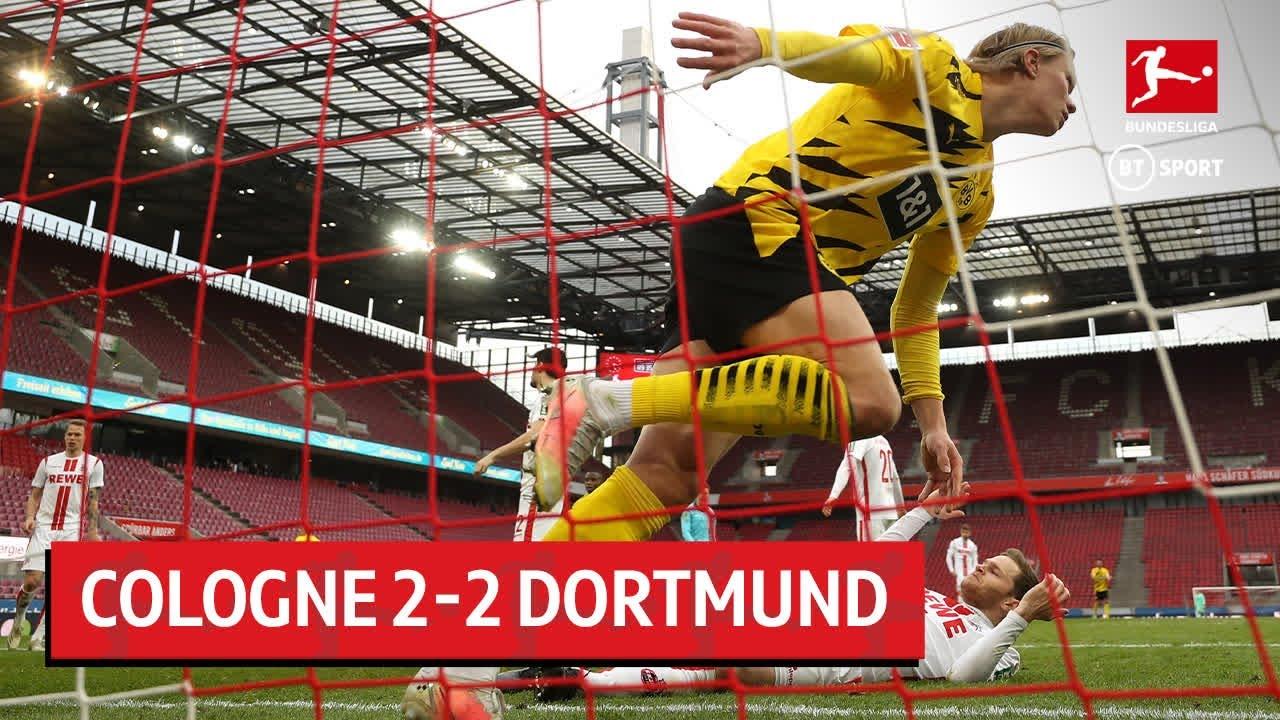 Erling Haaland nổi giận rời sân sau khi Dortmund chỉ có được trận hoà trước Cologne (Ảnh: BT Sport)