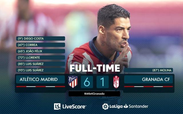 Suarez góp công cho chiến thắng 6-1 của Atletico trước Granada (Ảnh: LiveScore)