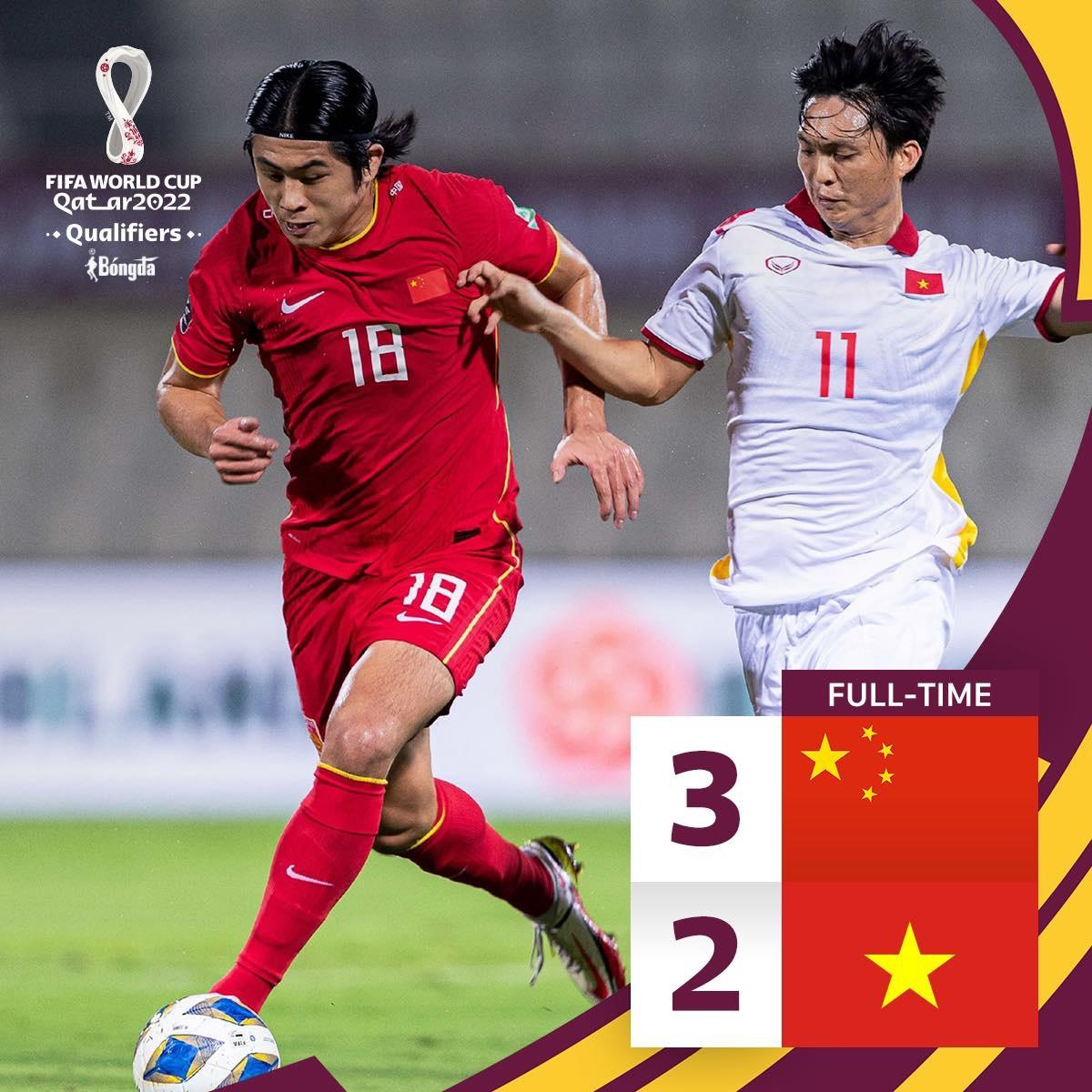 Kết quả Việt Nam 2-3 Trung Quốc: Mất trắng 3 điểm đầy tiếc nuối