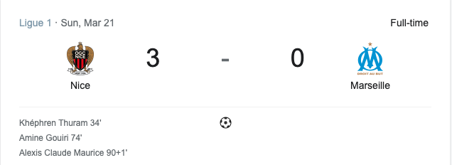 Nice hạ Marseille với tỉ số 3-0
