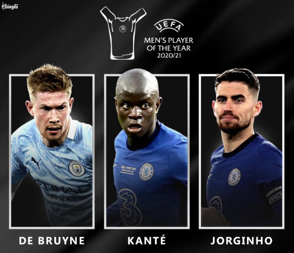 """""""Rò rỉ"""" Jorginho vượt Kante, De Bruyne đoạt giải Cầu thủ xuất sắc nhất UEFA"""